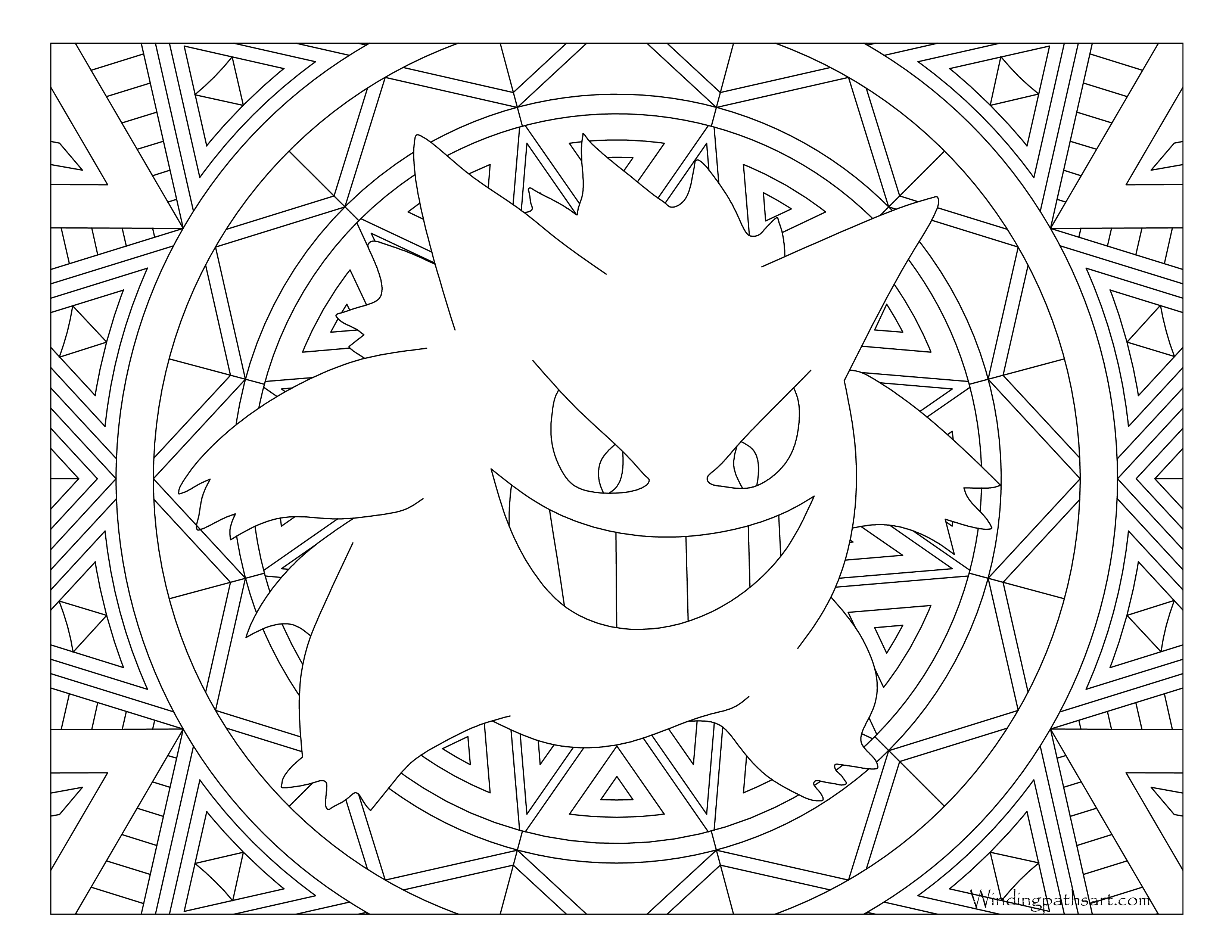 094 Gengar Pokemon Coloring Page 183 Windingpathsart Com