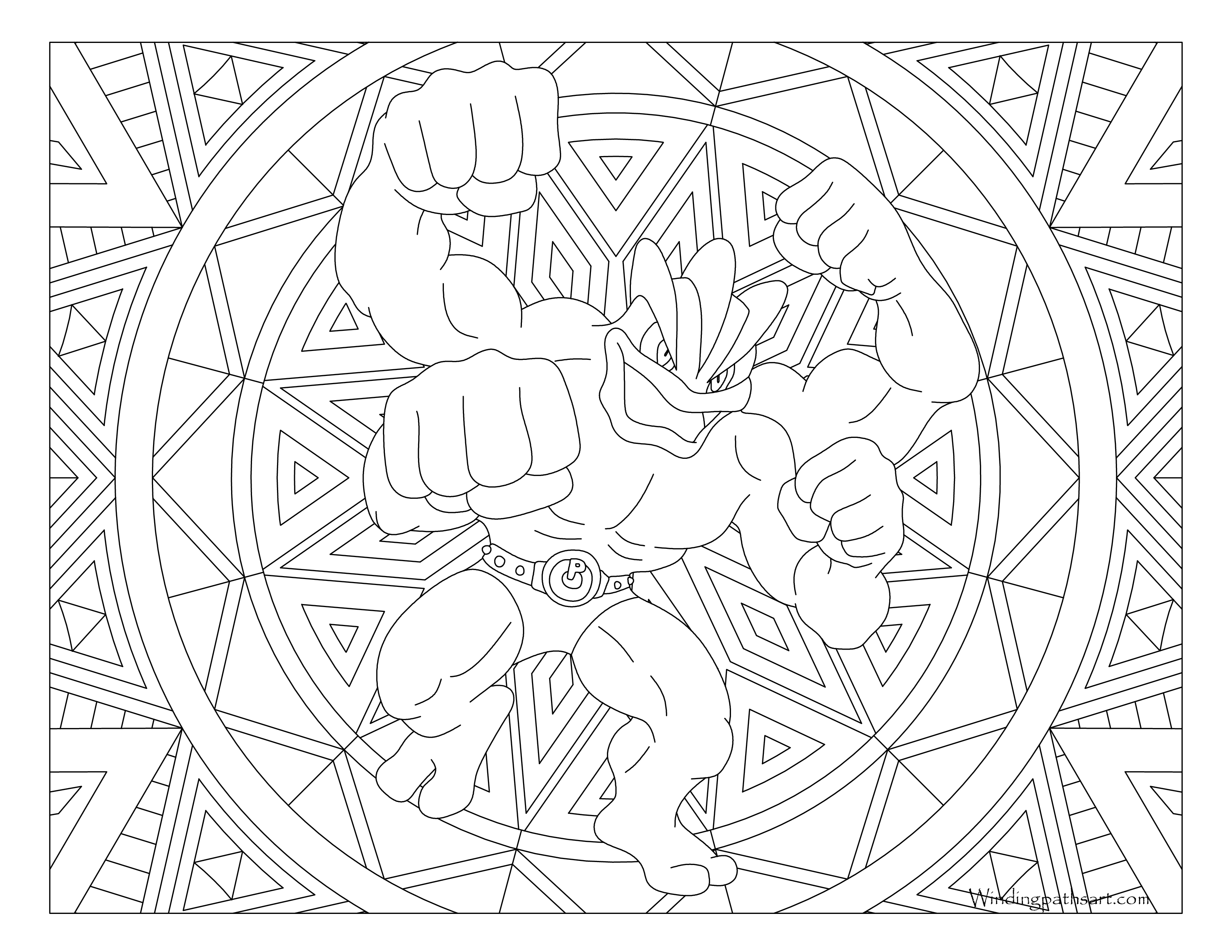 068 Machamp Pokemon Coloring Page Windingpathsart