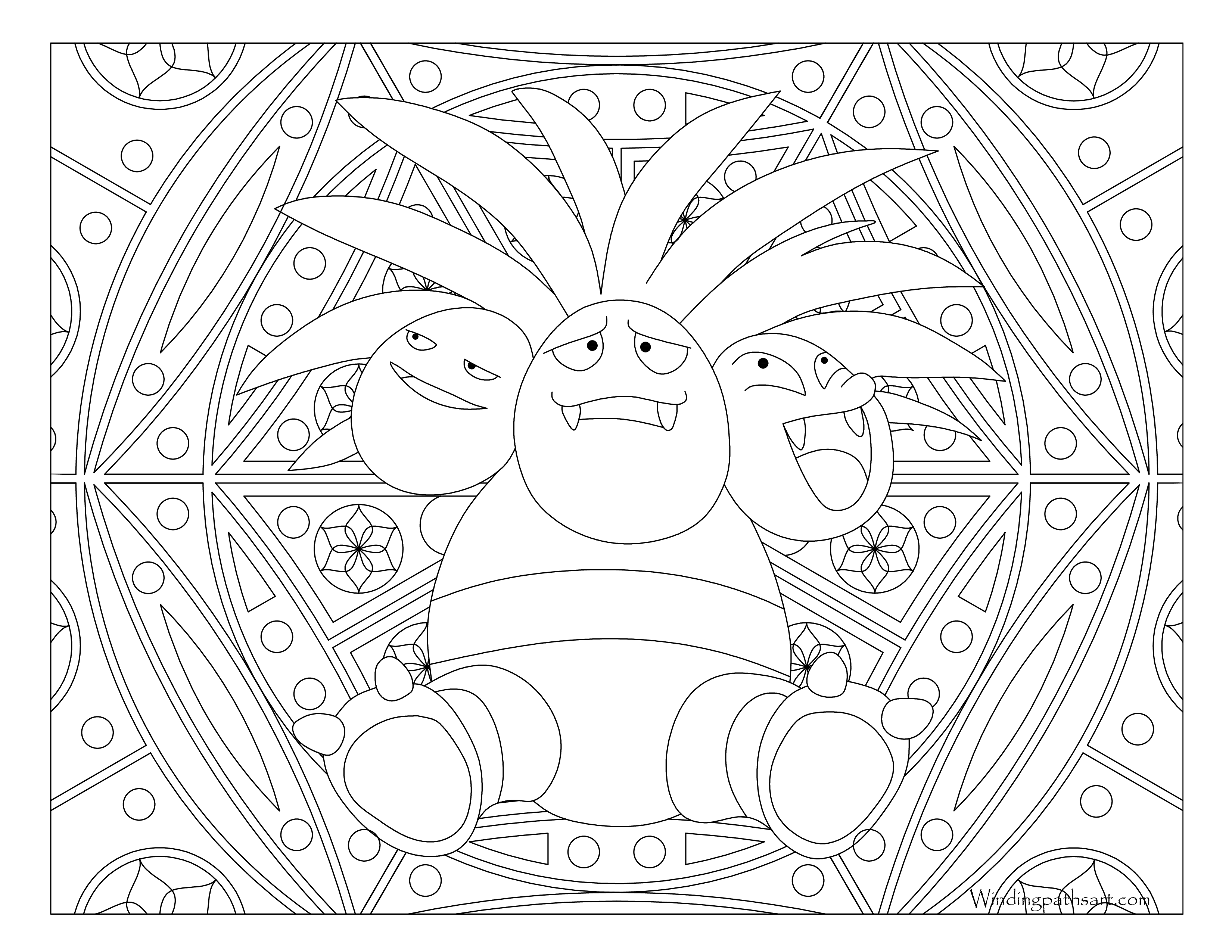 103 Exeggutor Pokemon Coloring Page Windingpathsart
