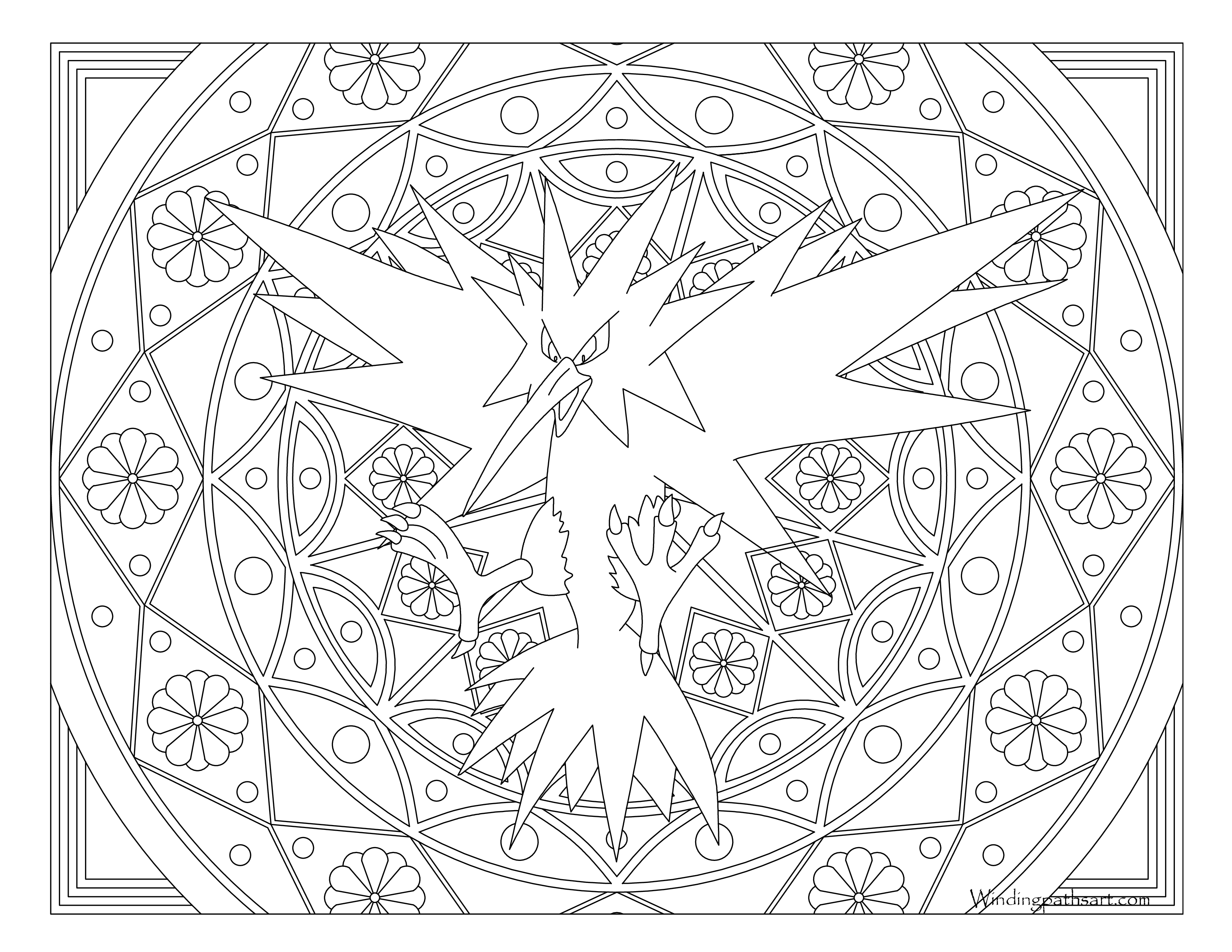 145 Zapdos Pokemon Coloring Page