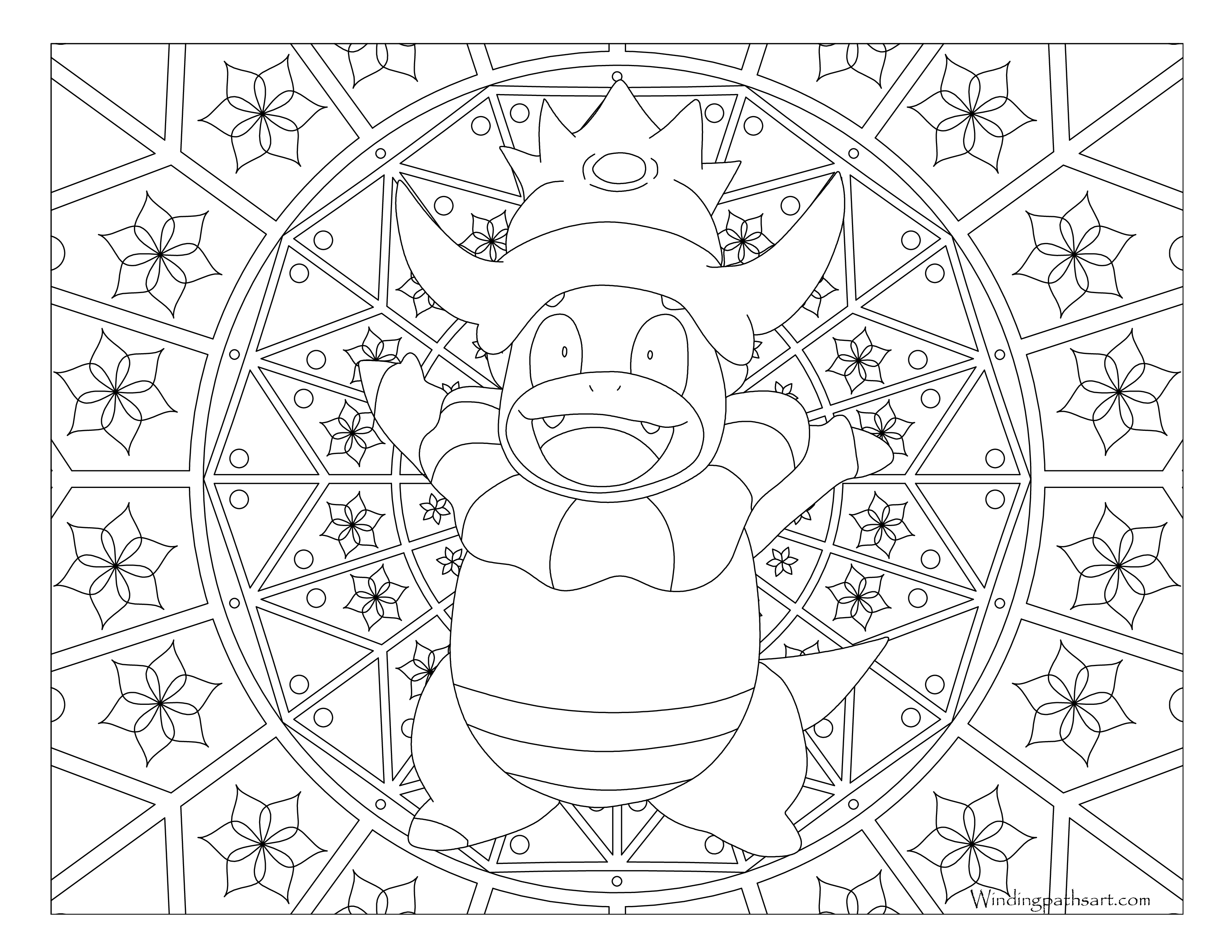 pokemon coloring pages servine moveset | #199 Slowking Pokemon Coloring Page · Windingpathsart.com