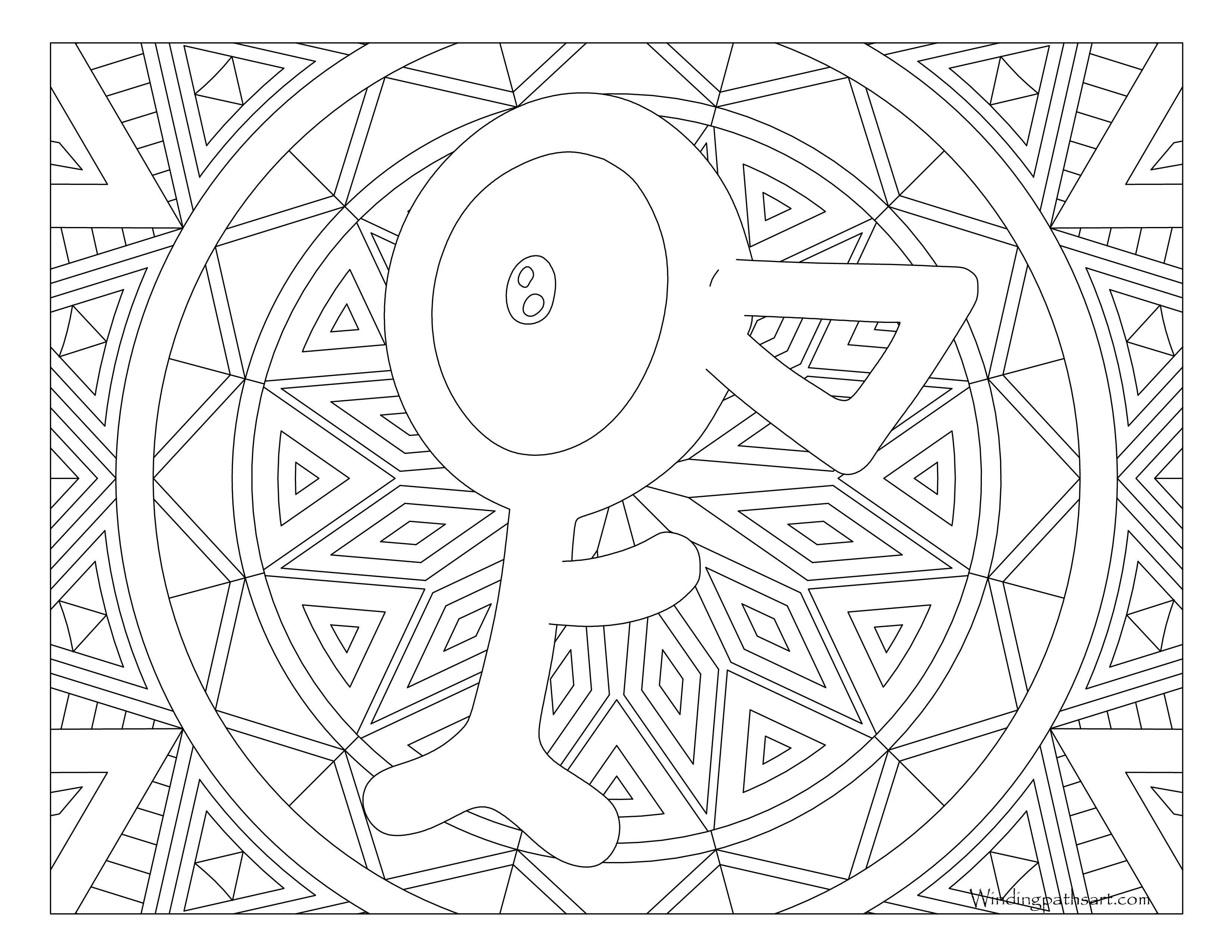 201 Unown Pokemon Coloring Page Windingpathsart Com