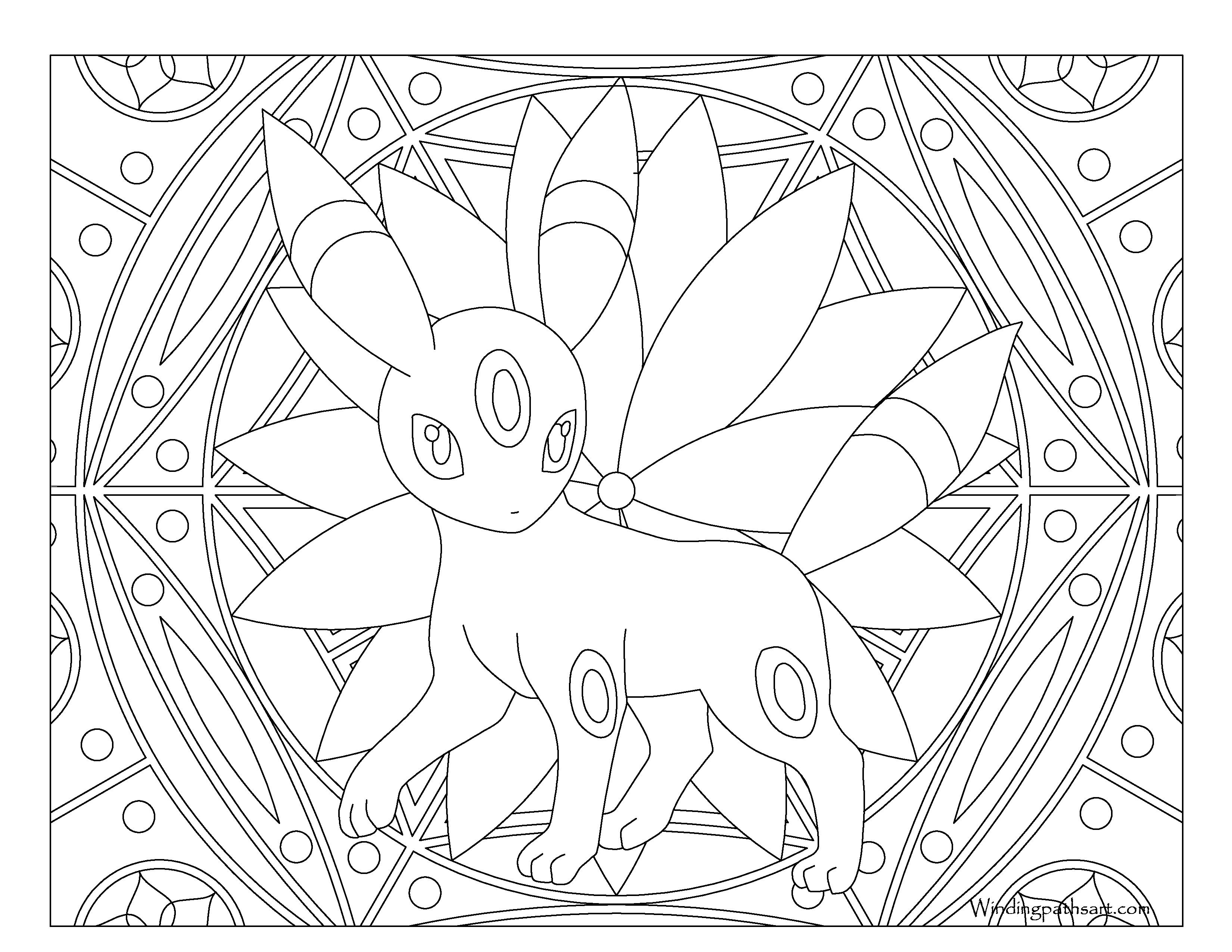 #197 Umbreon Pokemon Coloring Page · Windingpathsart.com