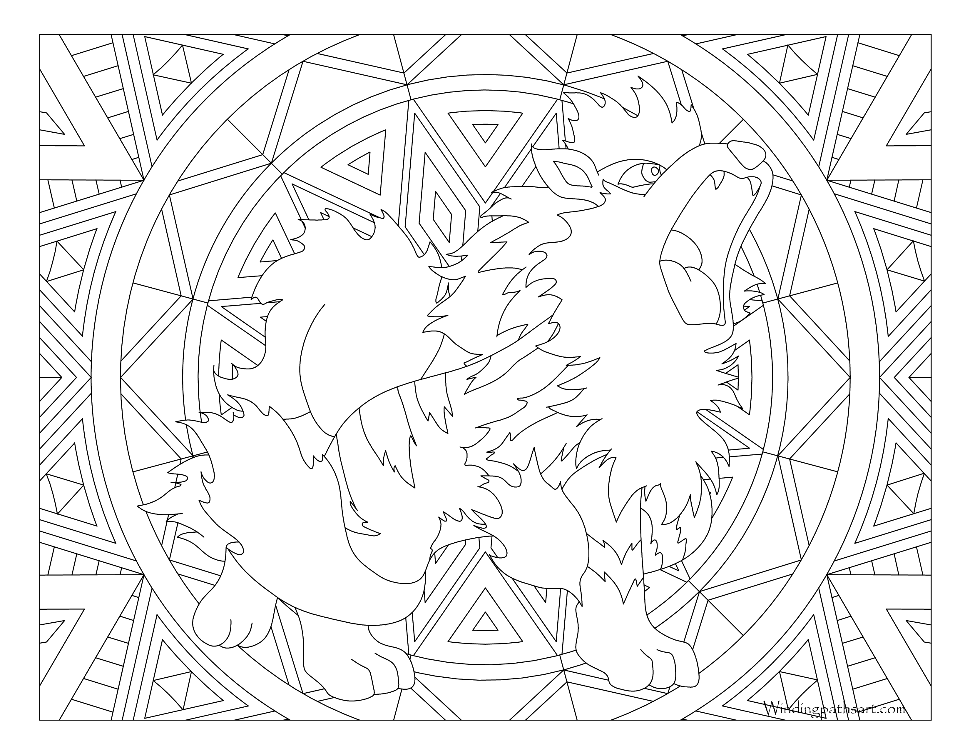 It is a picture of Current Growlithe Coloring Page