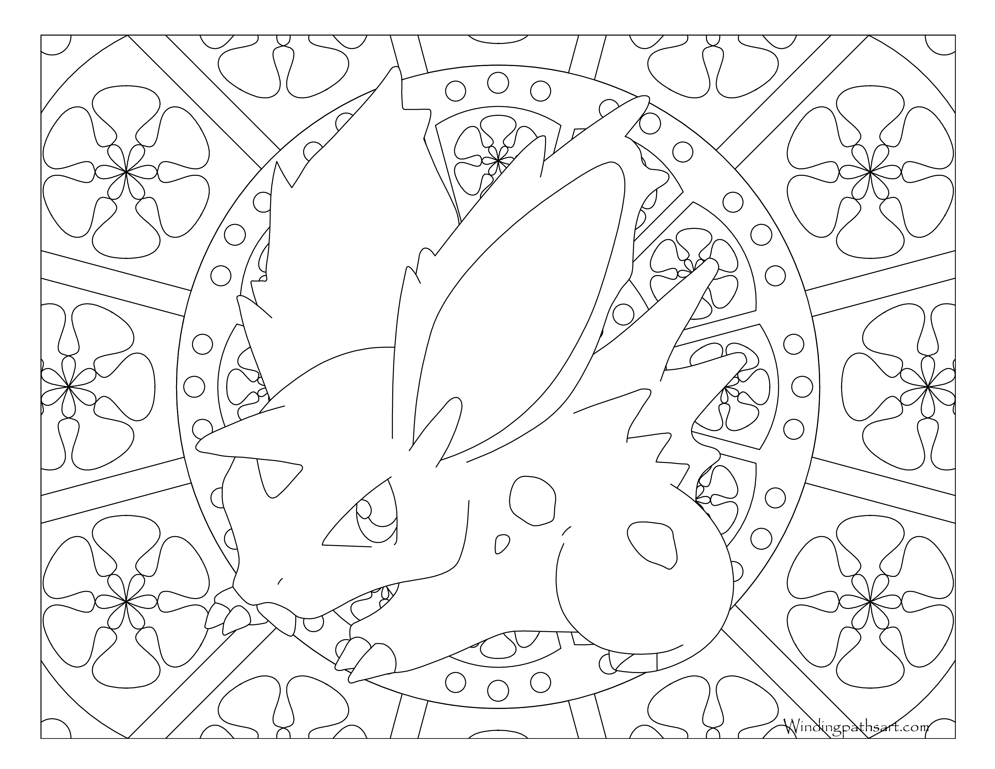 #032 Nidoran ♂ Pokemon Coloring Page · Windingpathsart.com
