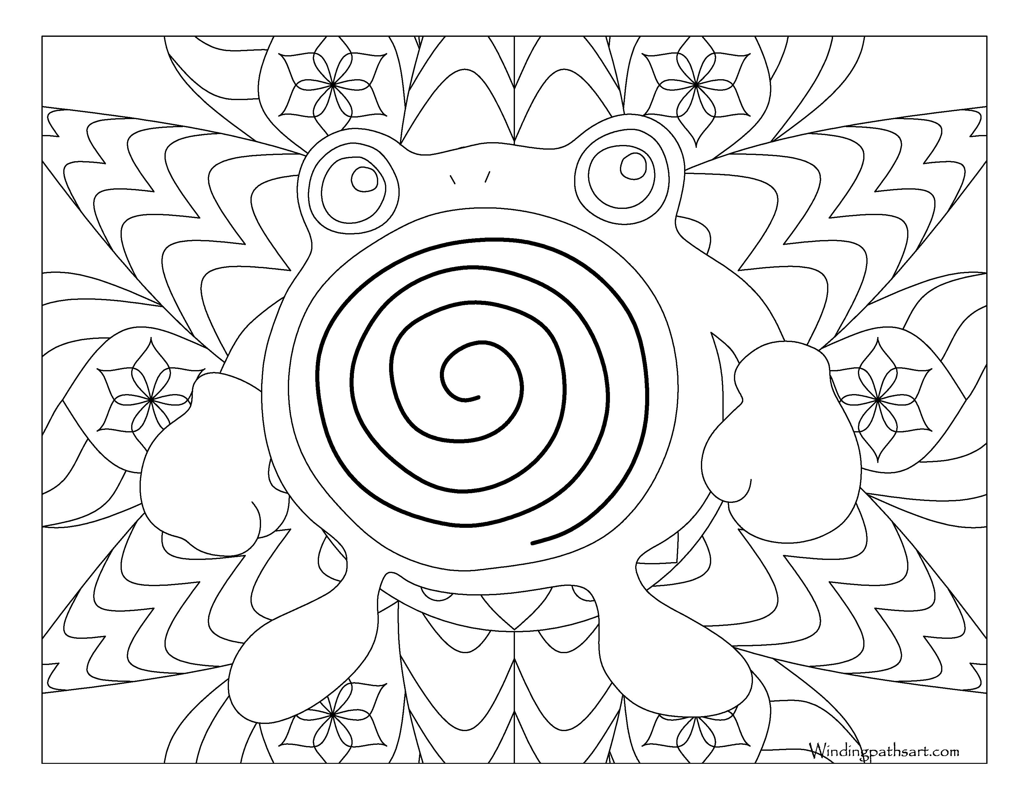 #061 Poliwhirl Pokemon Coloring Page · Windingpathsart.com